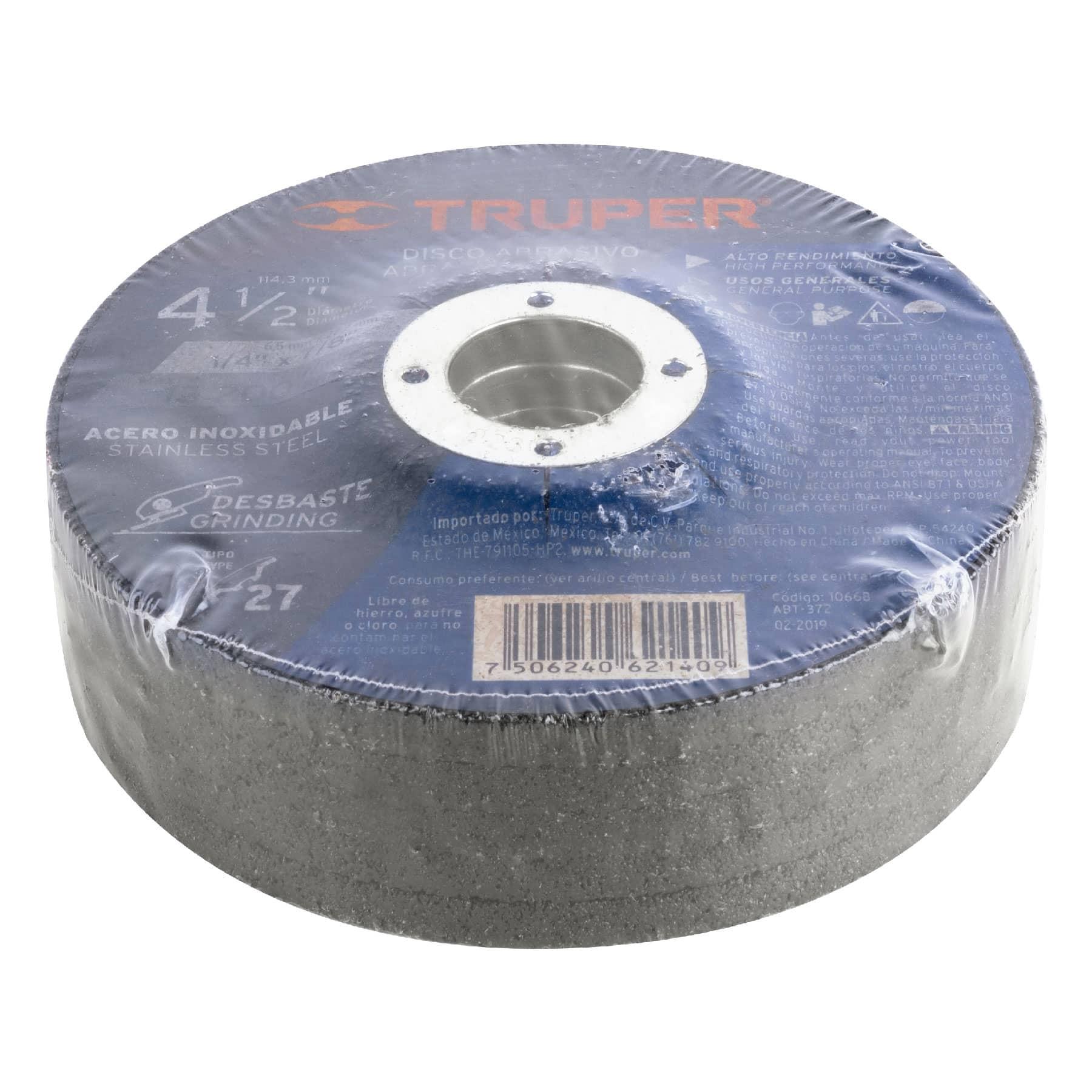 Truper - Disco para desbaste de acero inoxidable, tipo 27, 4-1/2