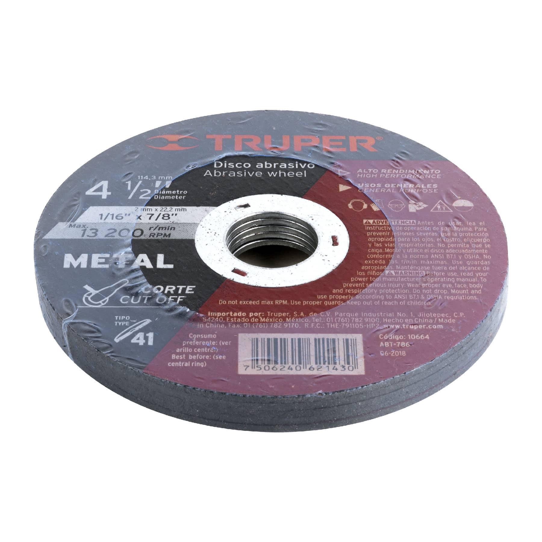 Disco para corte de metal, tipo 41, diámetro 4-1/2