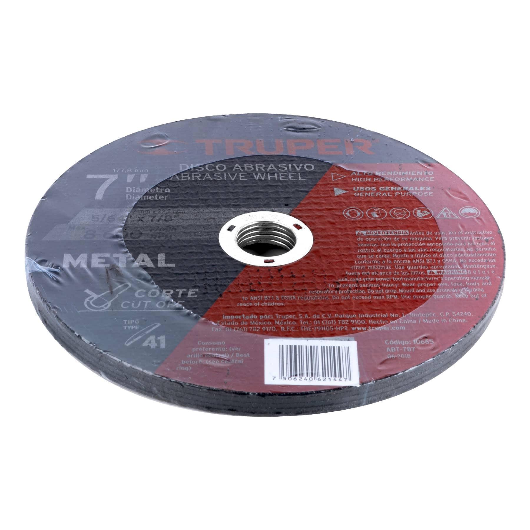 Disco para corte de metal, tipo 41, diámetro 7