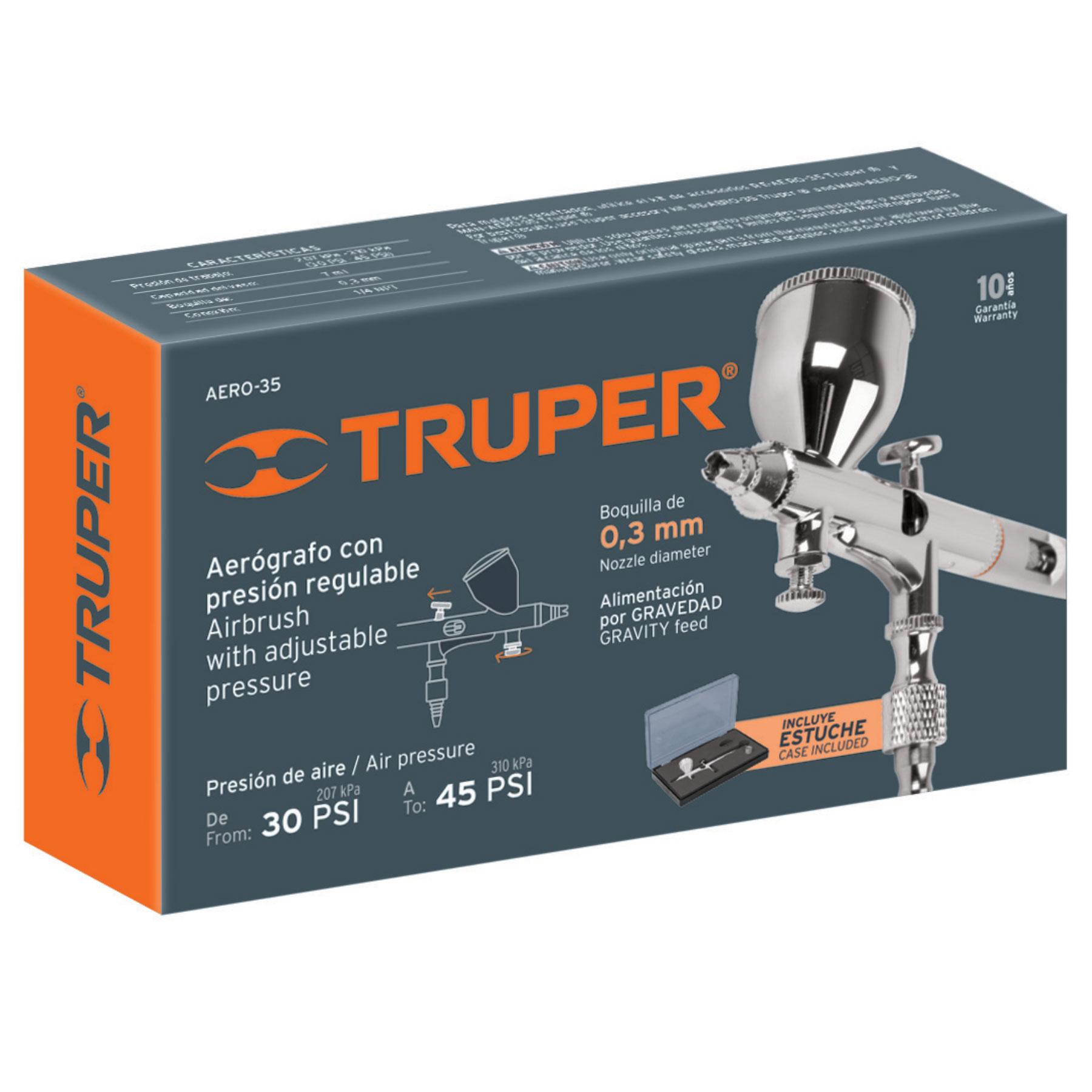 Truper - Pistola aerográfica de gravedad con vaso fijo