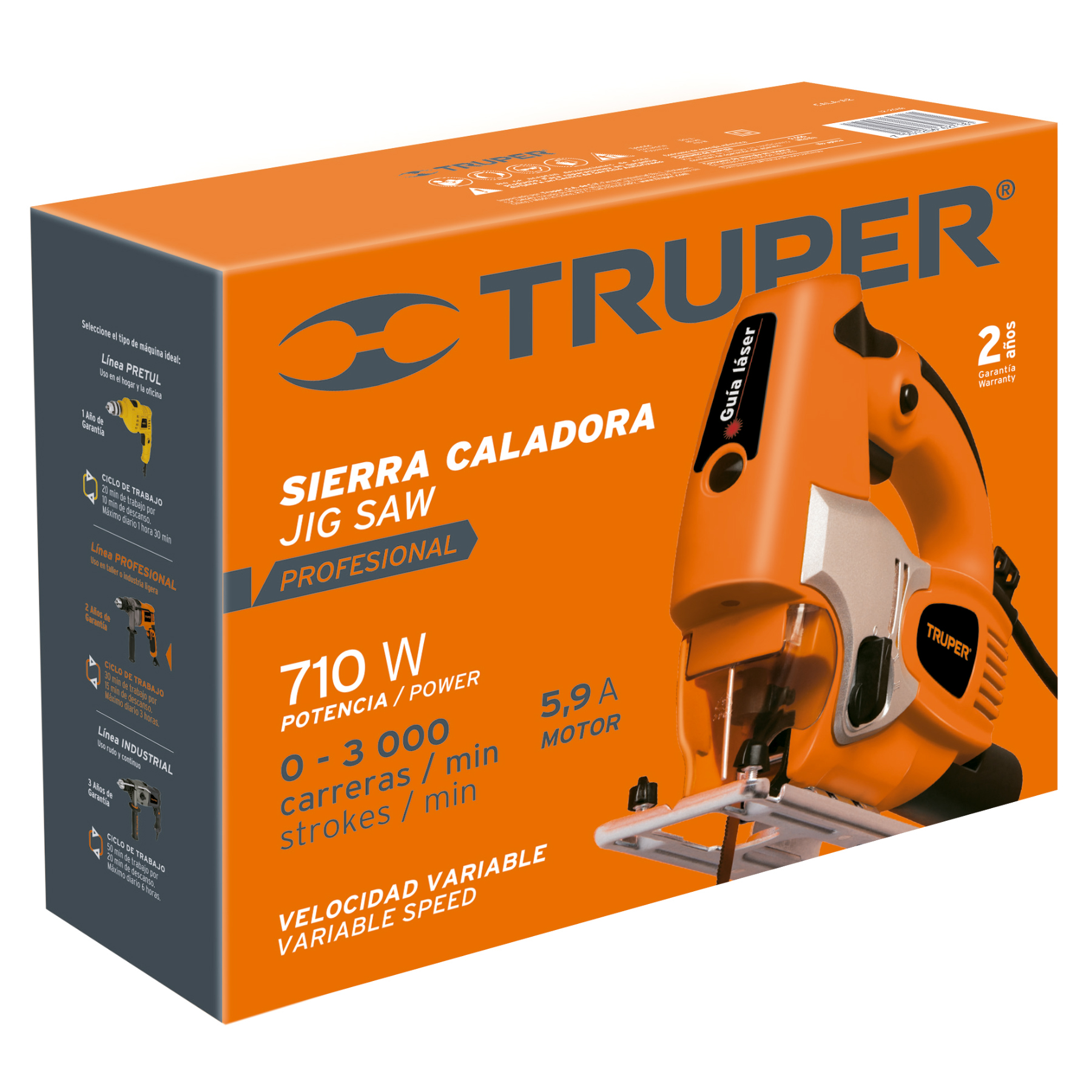 Truper - Sierra caladora, profesional, 710 W, 6A