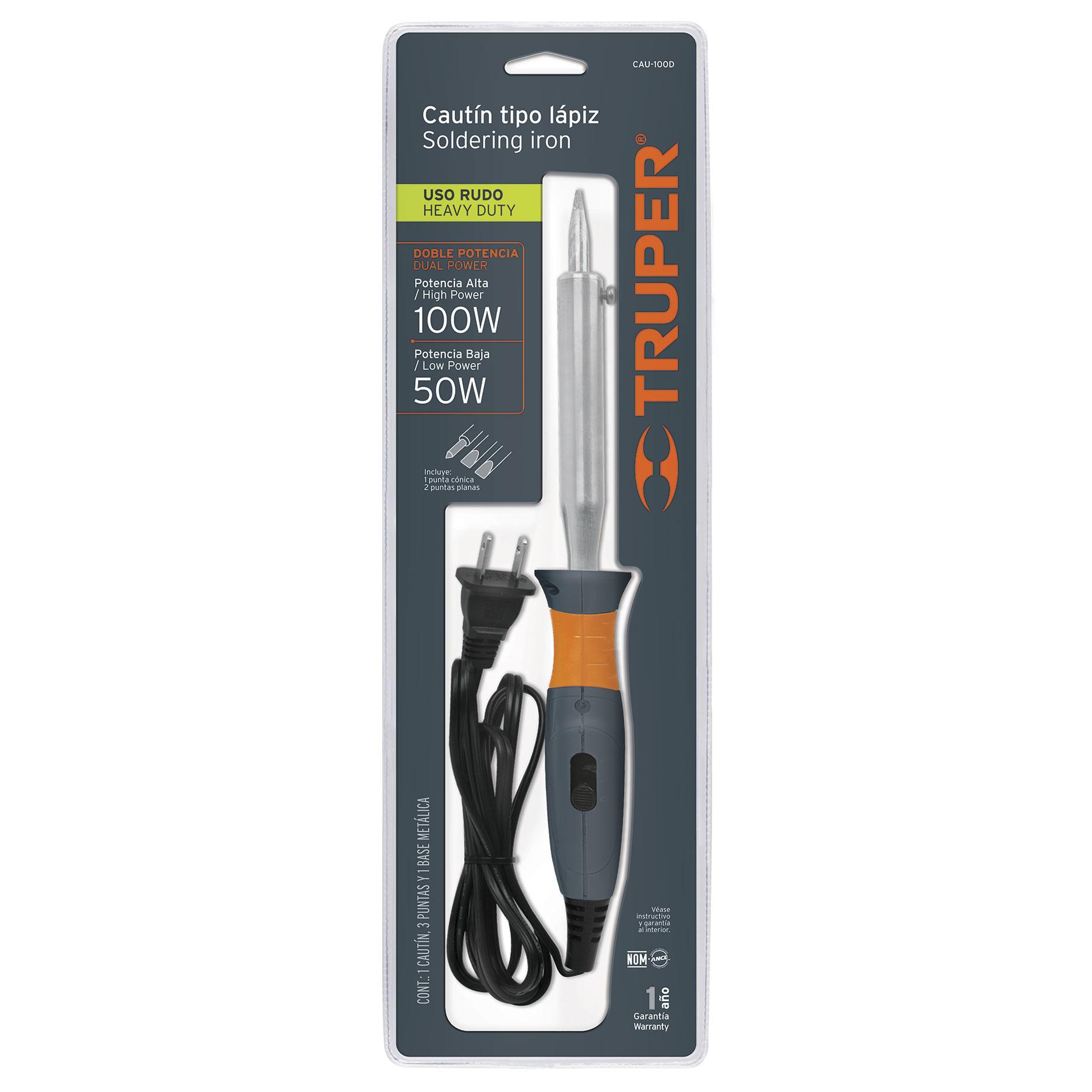 Truper - Cautín, tipo lápiz de 100 W, dual, industrial