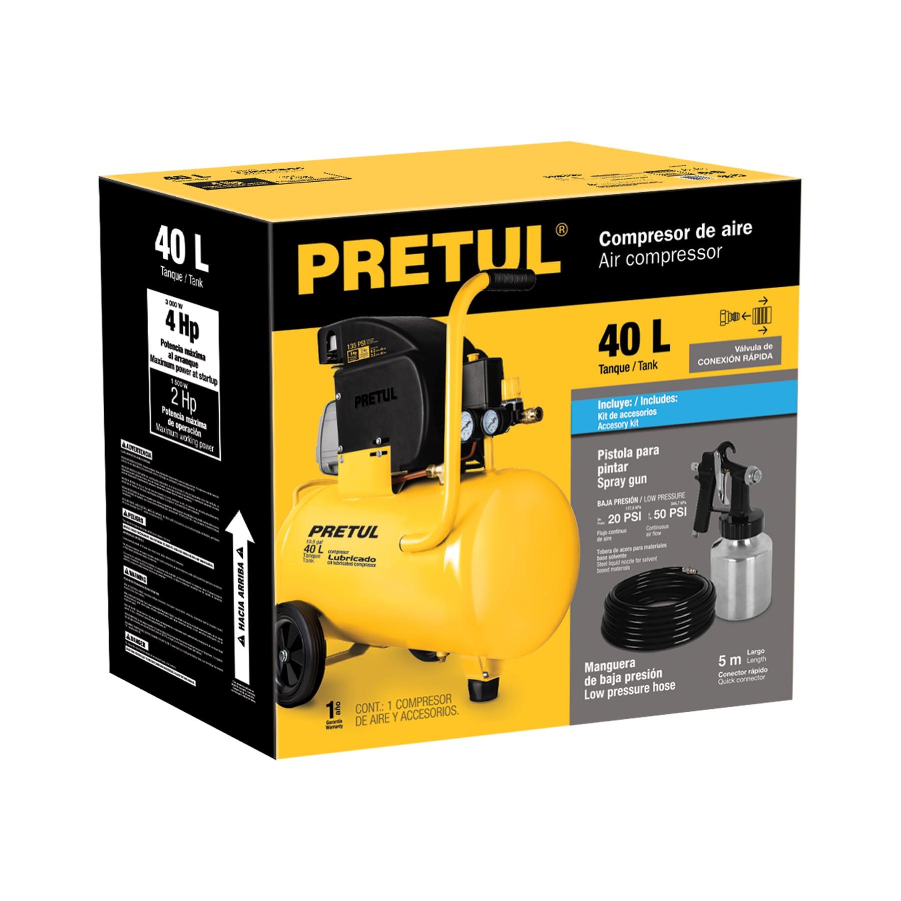 Pretul - Kit, compresor 40 L, manguera de PVC y pistola, Pretul
