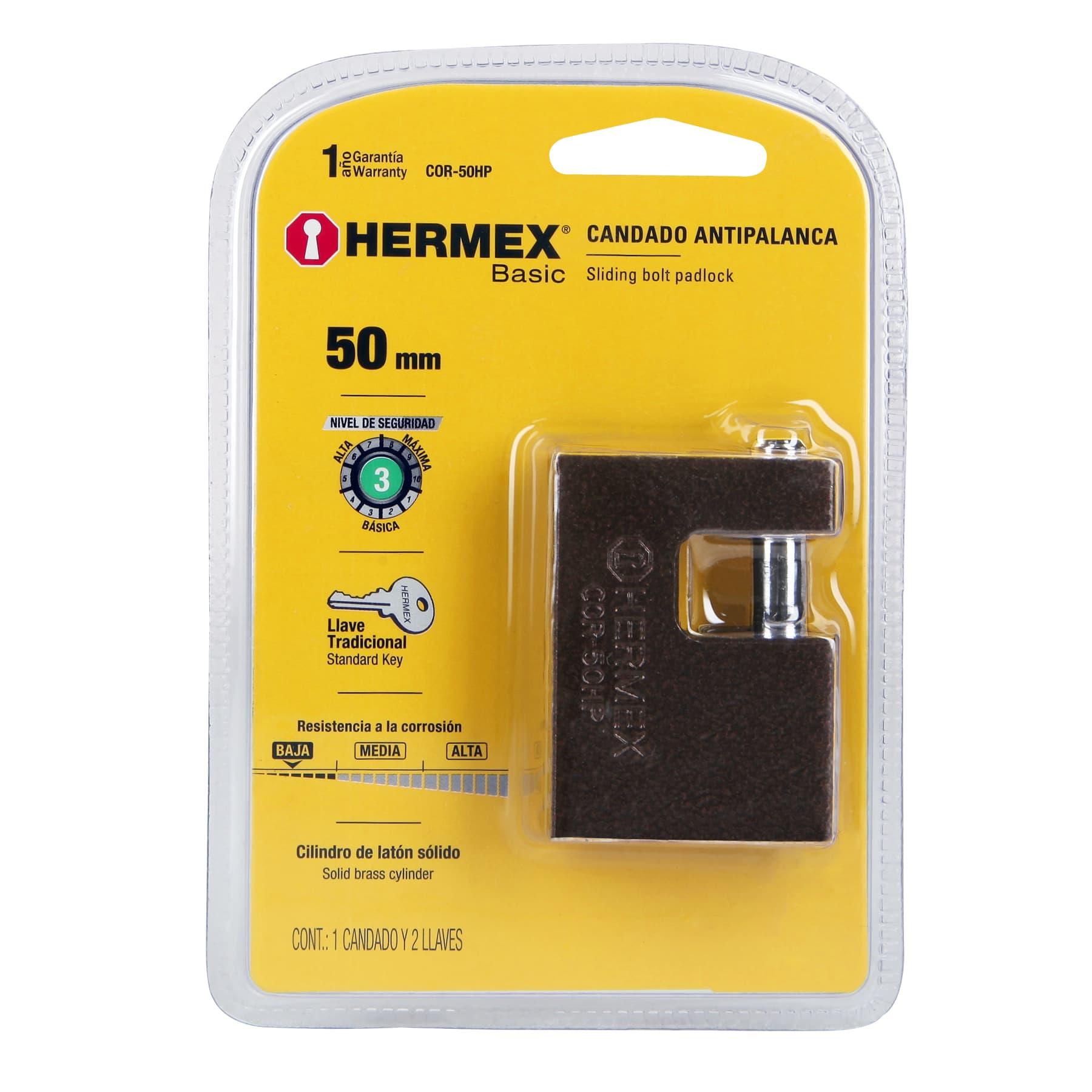 Hermex - Candado antipalanca, 50mm, cuerpo de hierro, Hermex Basic