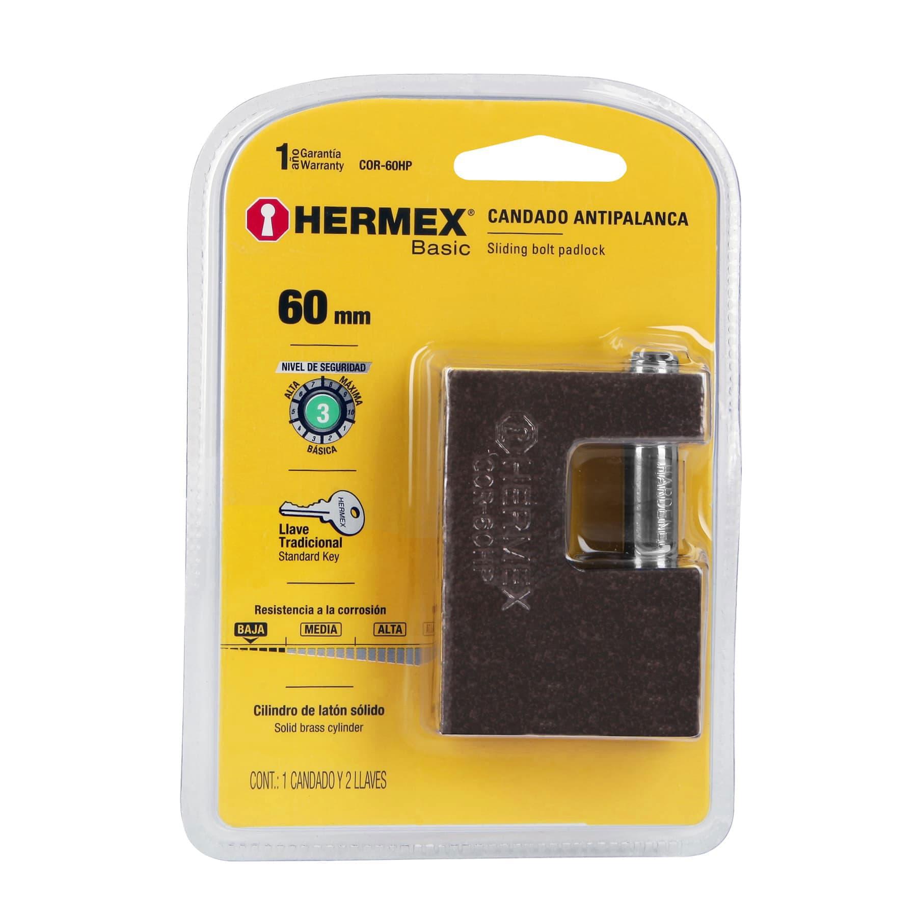 Hermex - Candado antipalanca, 60mm, cuerpo de hierro, Hermex Basic