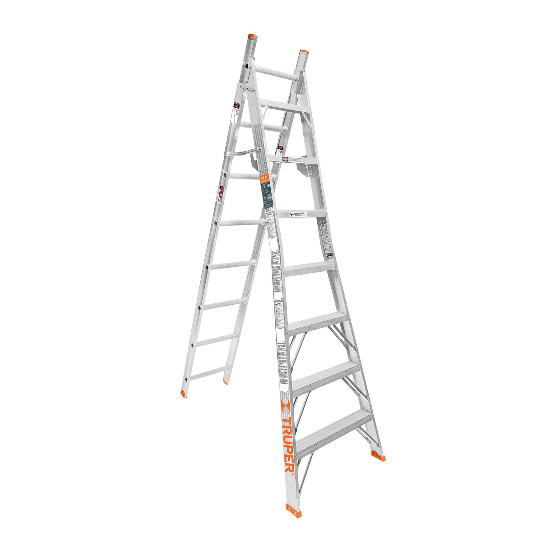 Truper - Escalera de combinación, tipo ll, 15 escalones