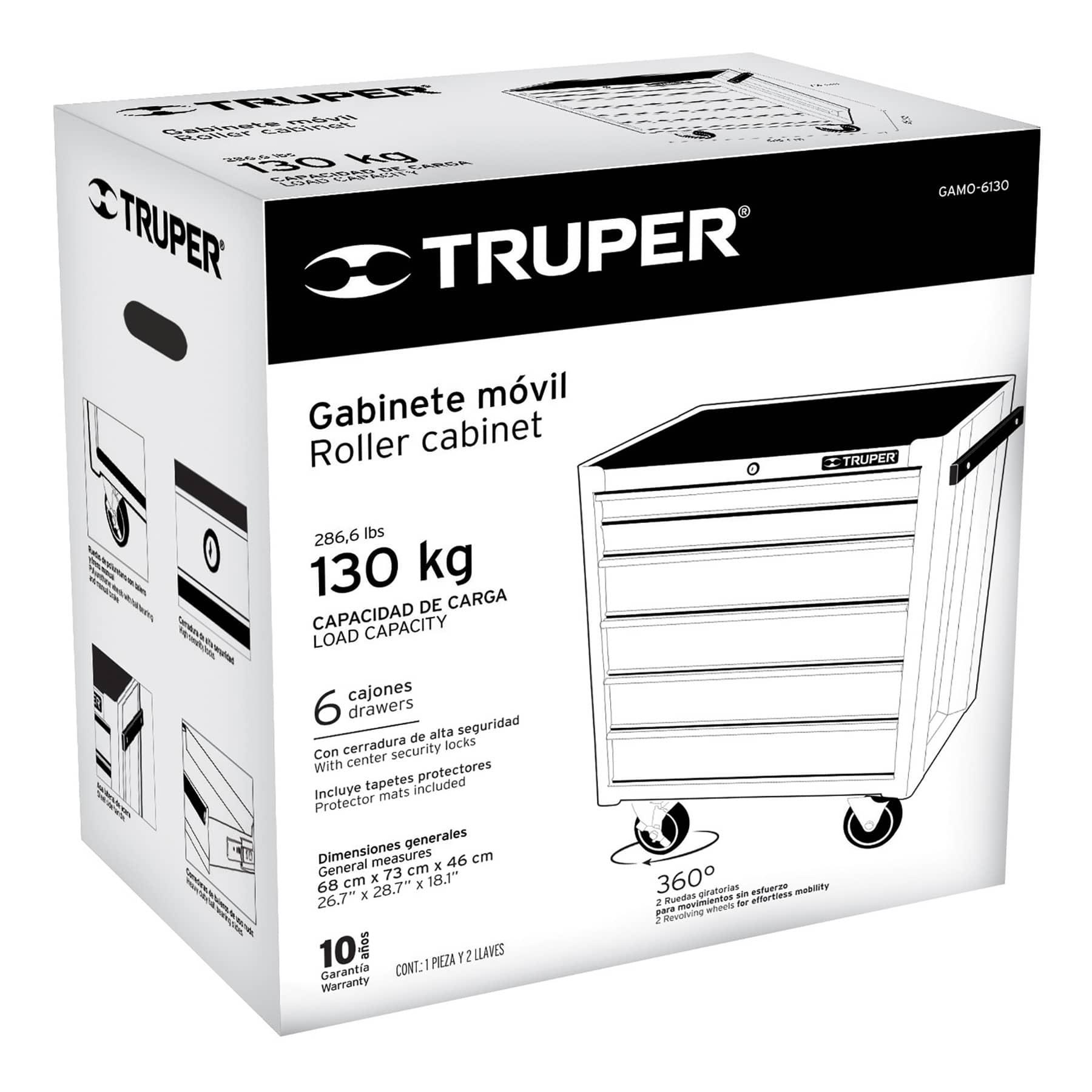 Truper - Gabinete metálico móvil, 6 cajones, capacidad 130 kg.