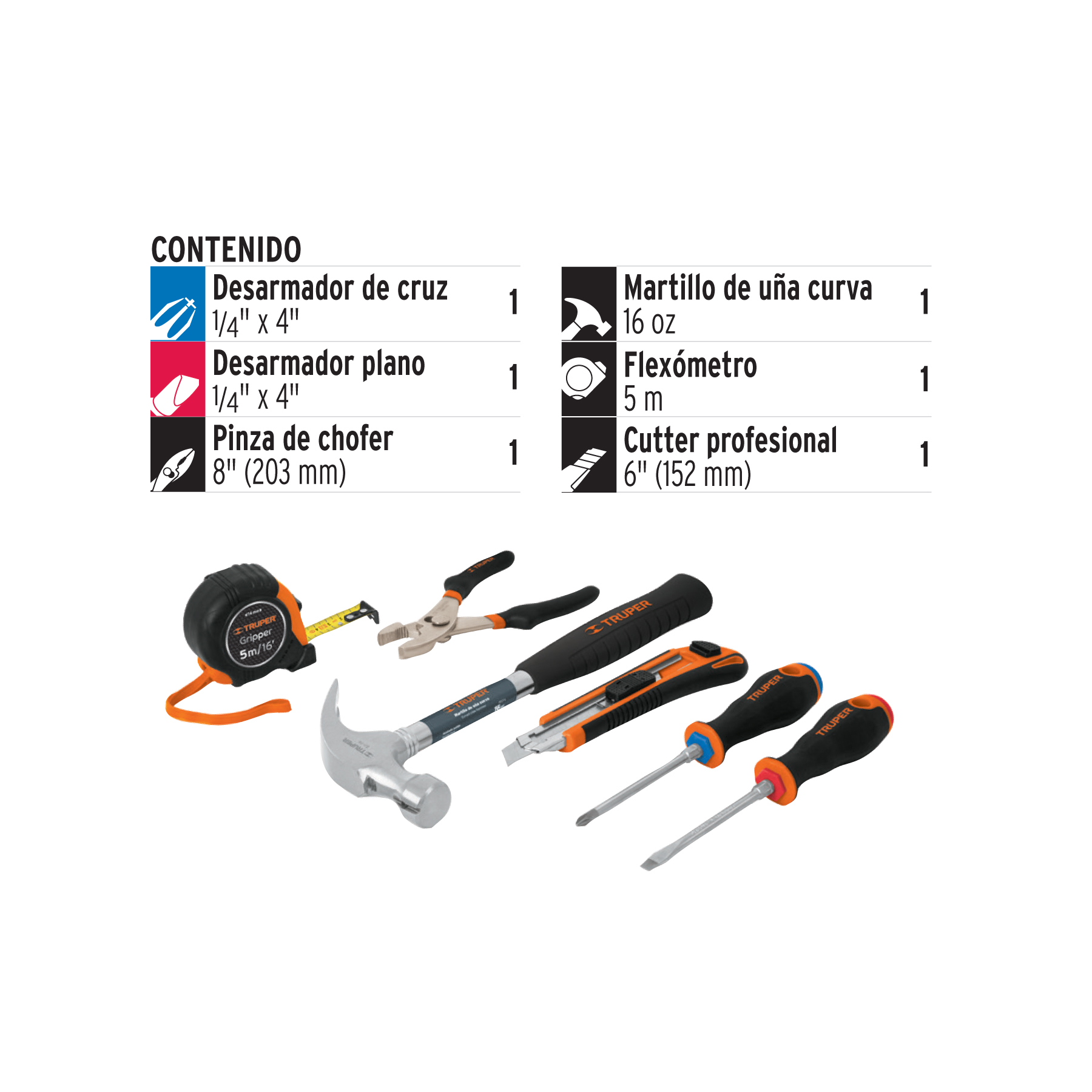 Truper - Juego casero de herramientas, 6 piezas