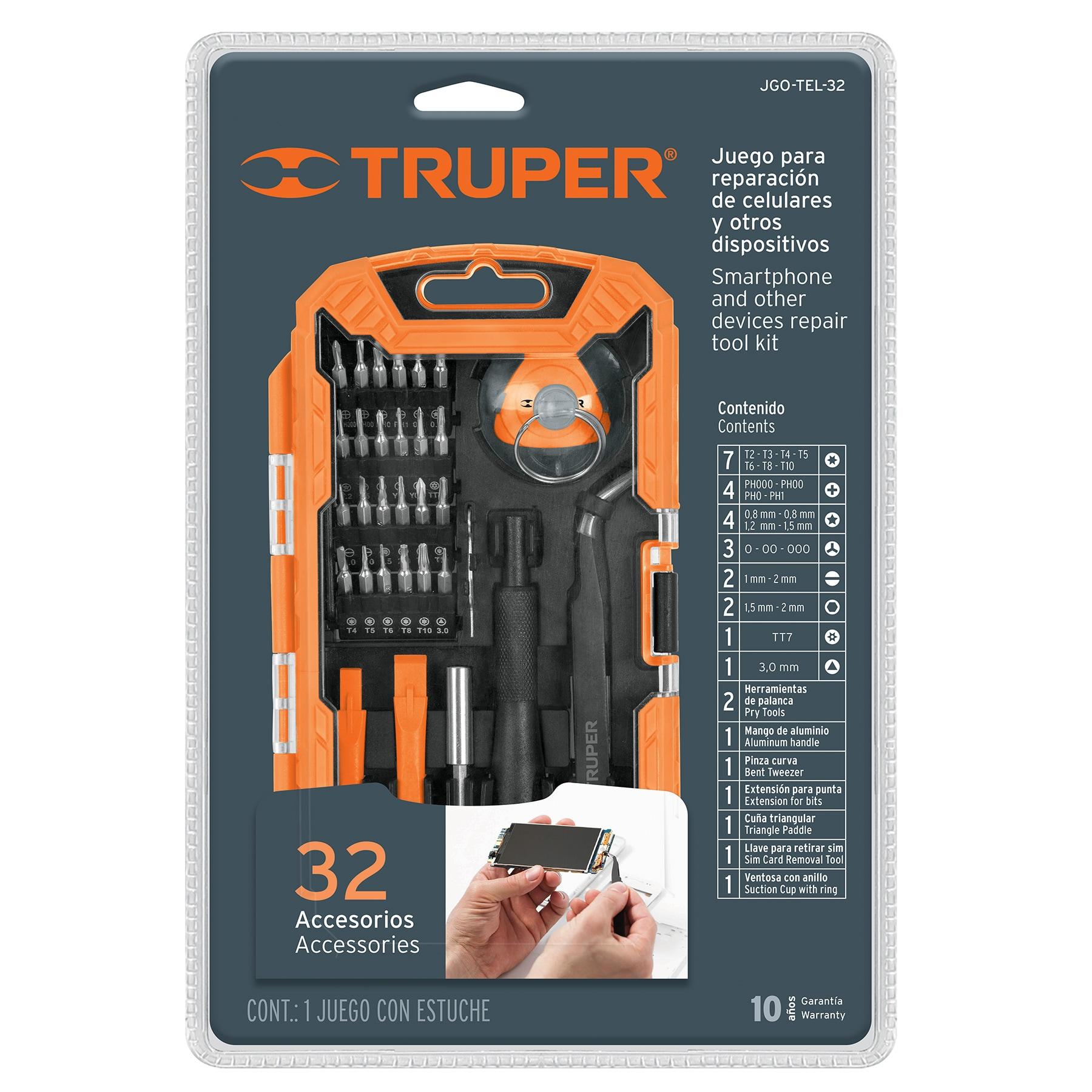Truper - Juego de herramientas para reparación de celulares 32 piezas