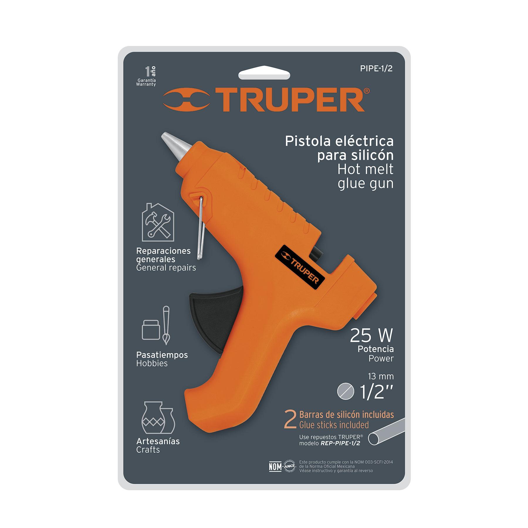 Truper - Pistola eléctrica de pegamento 25W, incluye 2 barras