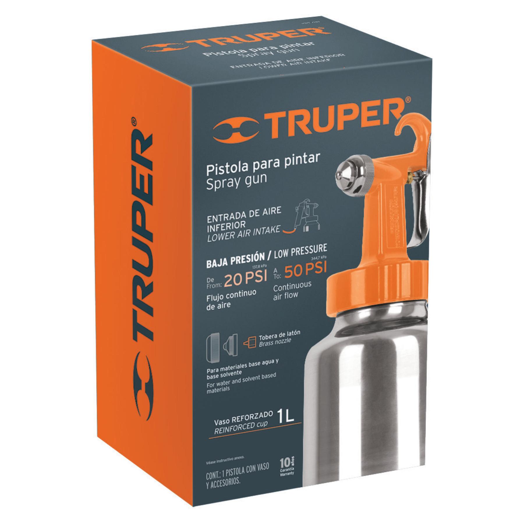 Truper - Pistola p/pintar baja presión, naranja, entrada inferior
