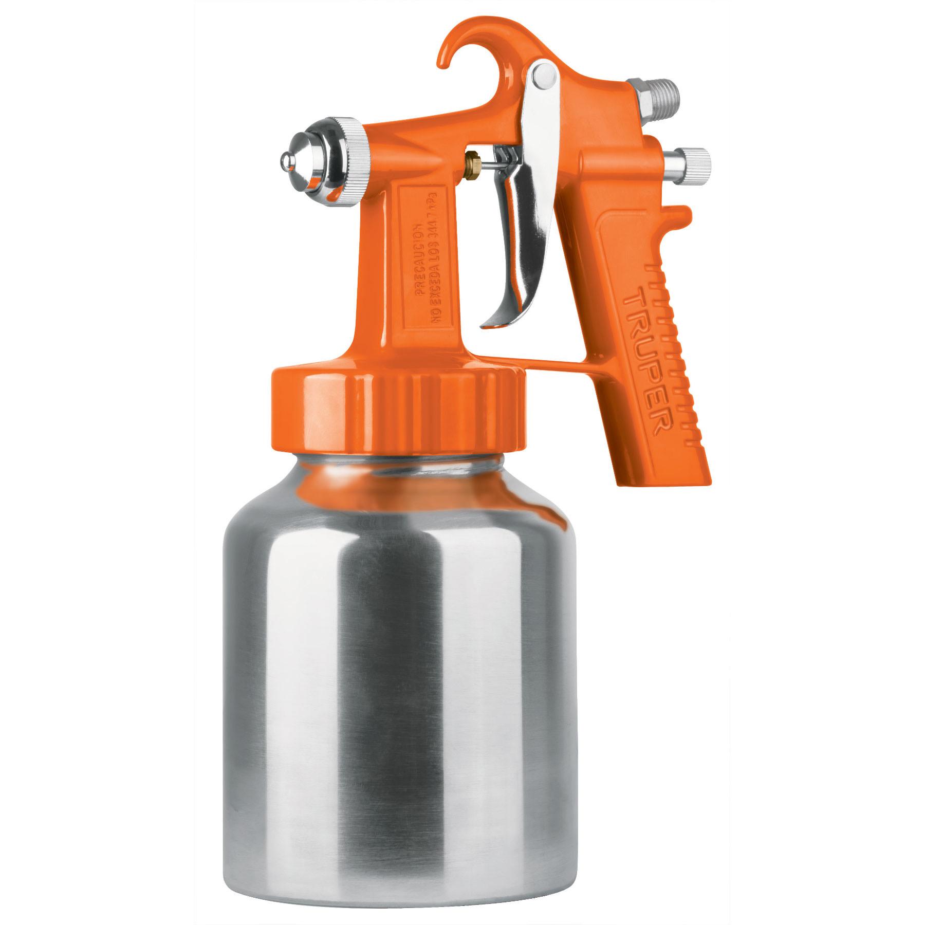 Truper - Pistola p/pintar baja presión, naranja, entrada superior