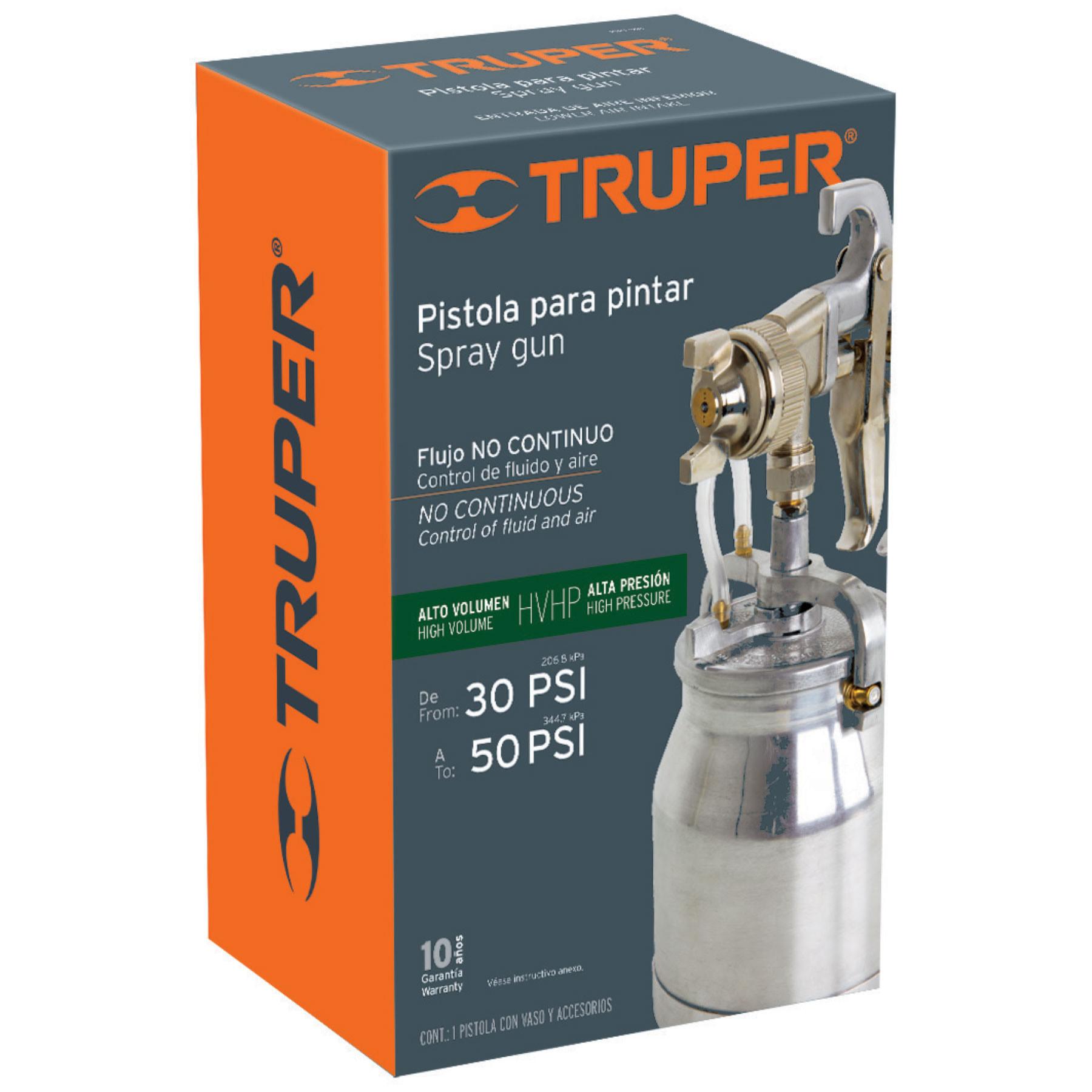 Truper - Pistola p/pintar succión HVHP, vaso alum, 1.8mm, 2 perillas