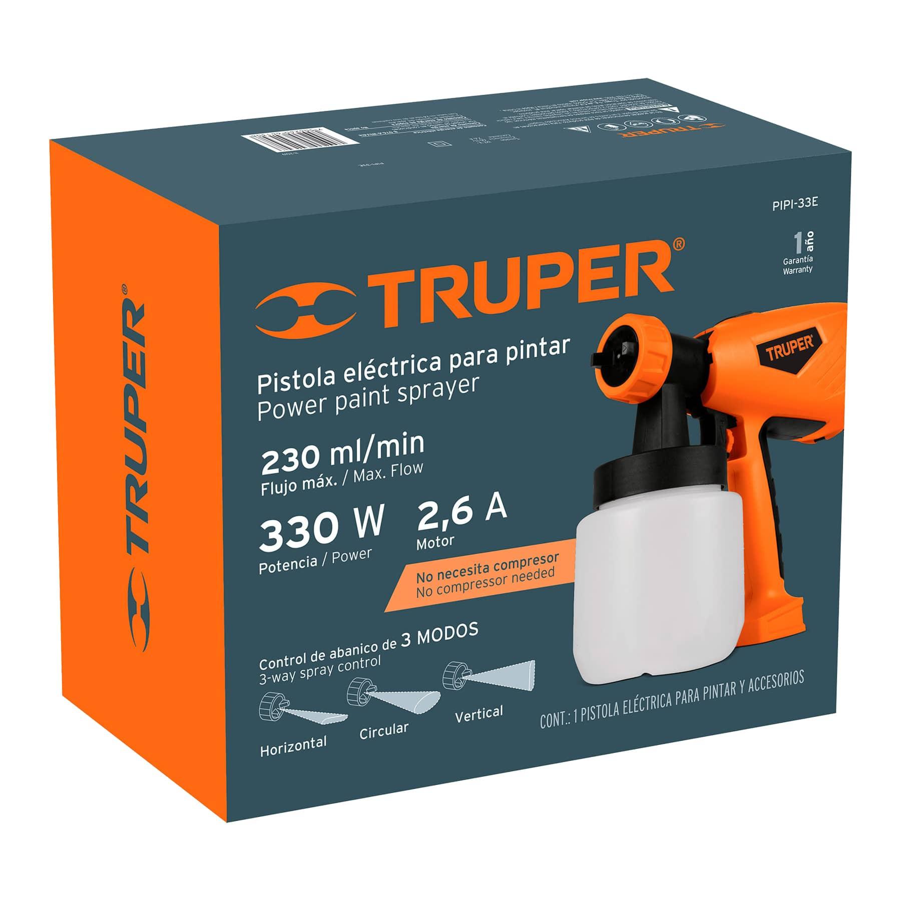 Truper - Pistola para pintar eléctrica, 330 W