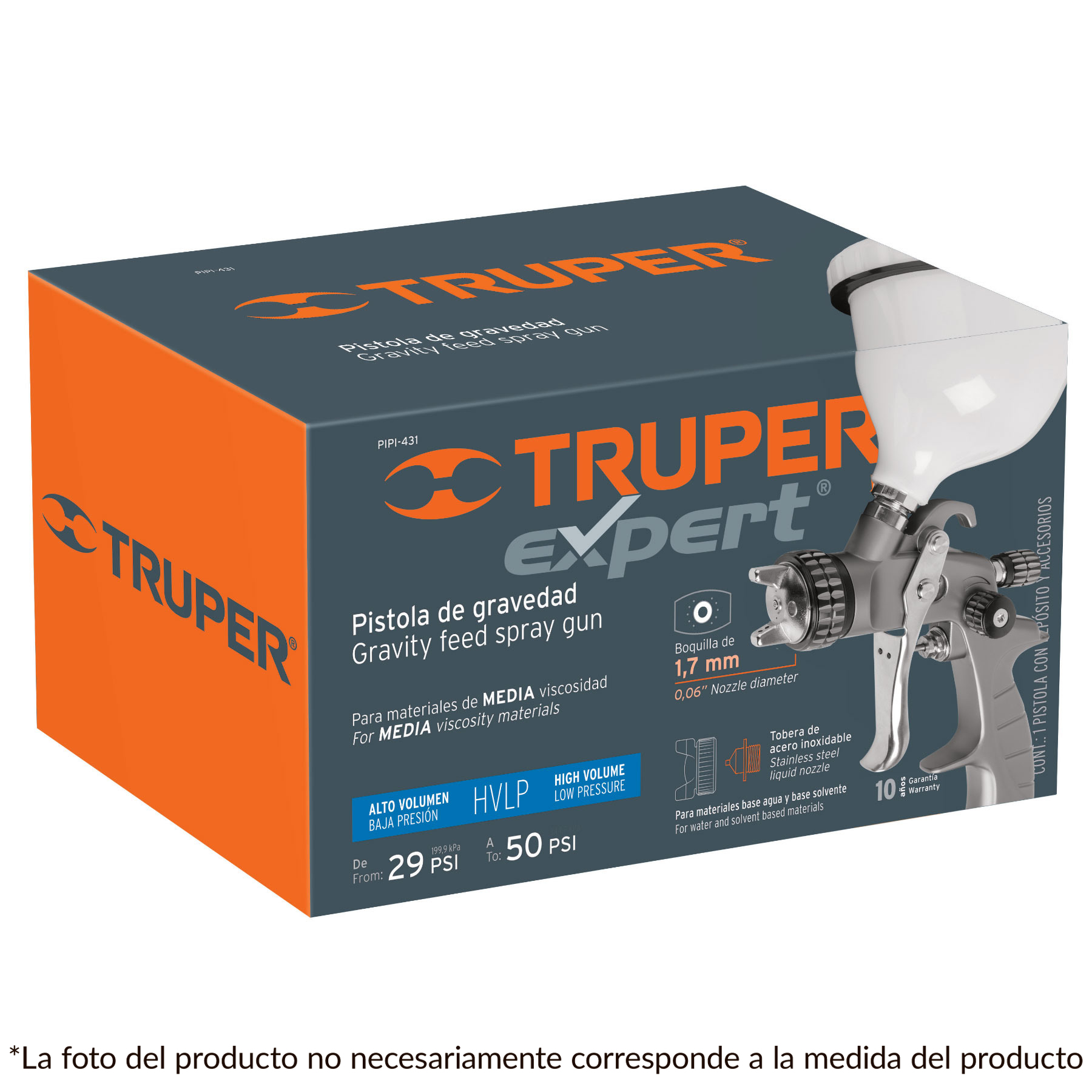 Truper - Pistola p/pintar gravedad HVLP,vaso plástico, boquilla 1.7mm