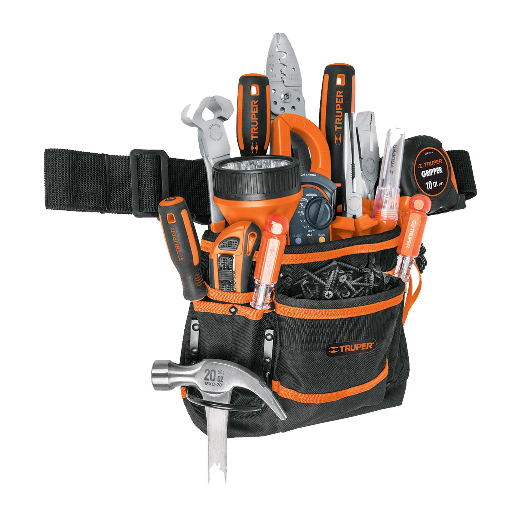 Truper - Porta herramientas de poliéster, 13 compartimentos