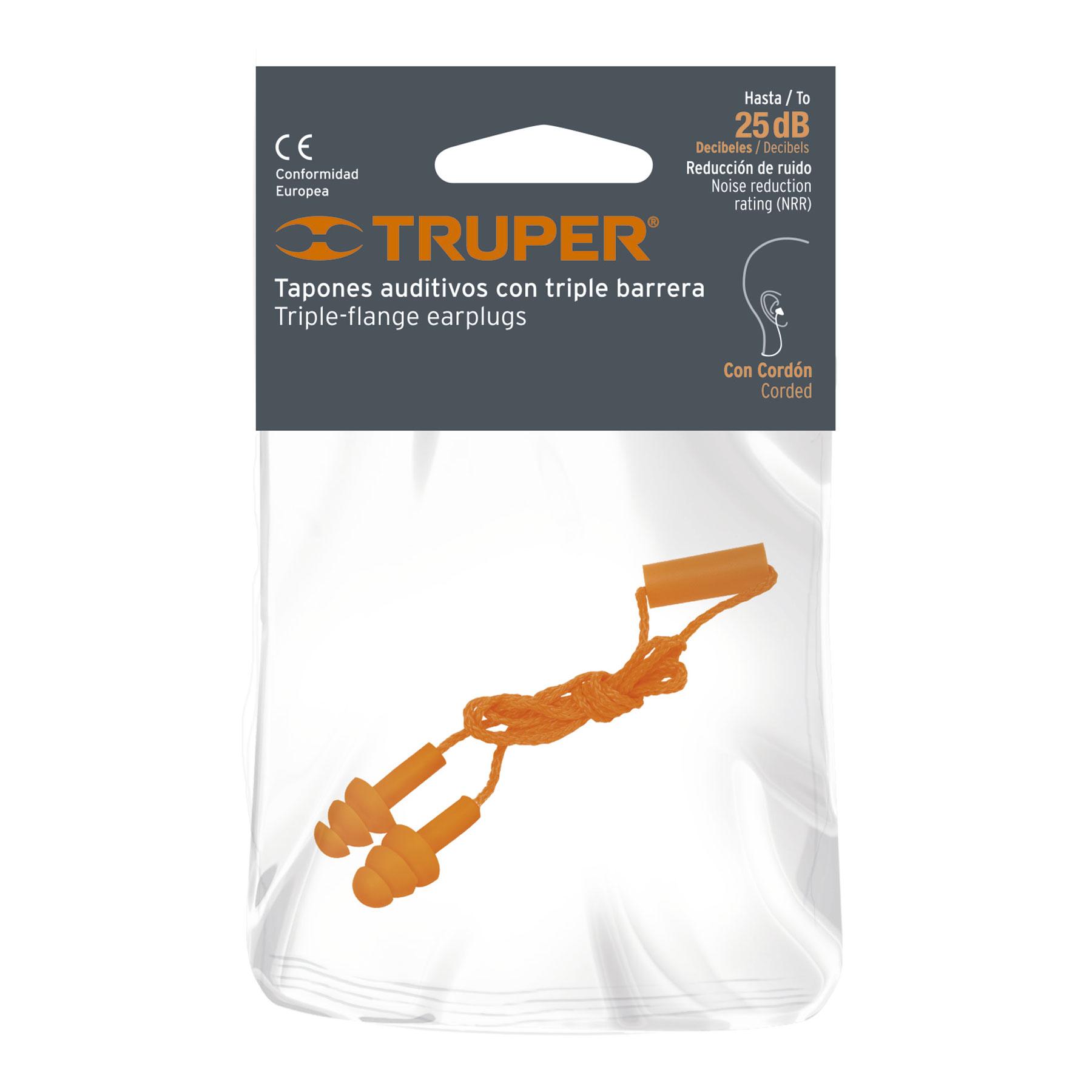 Truper - Tapón auditivo, reutilizable, triple barrera con cordón