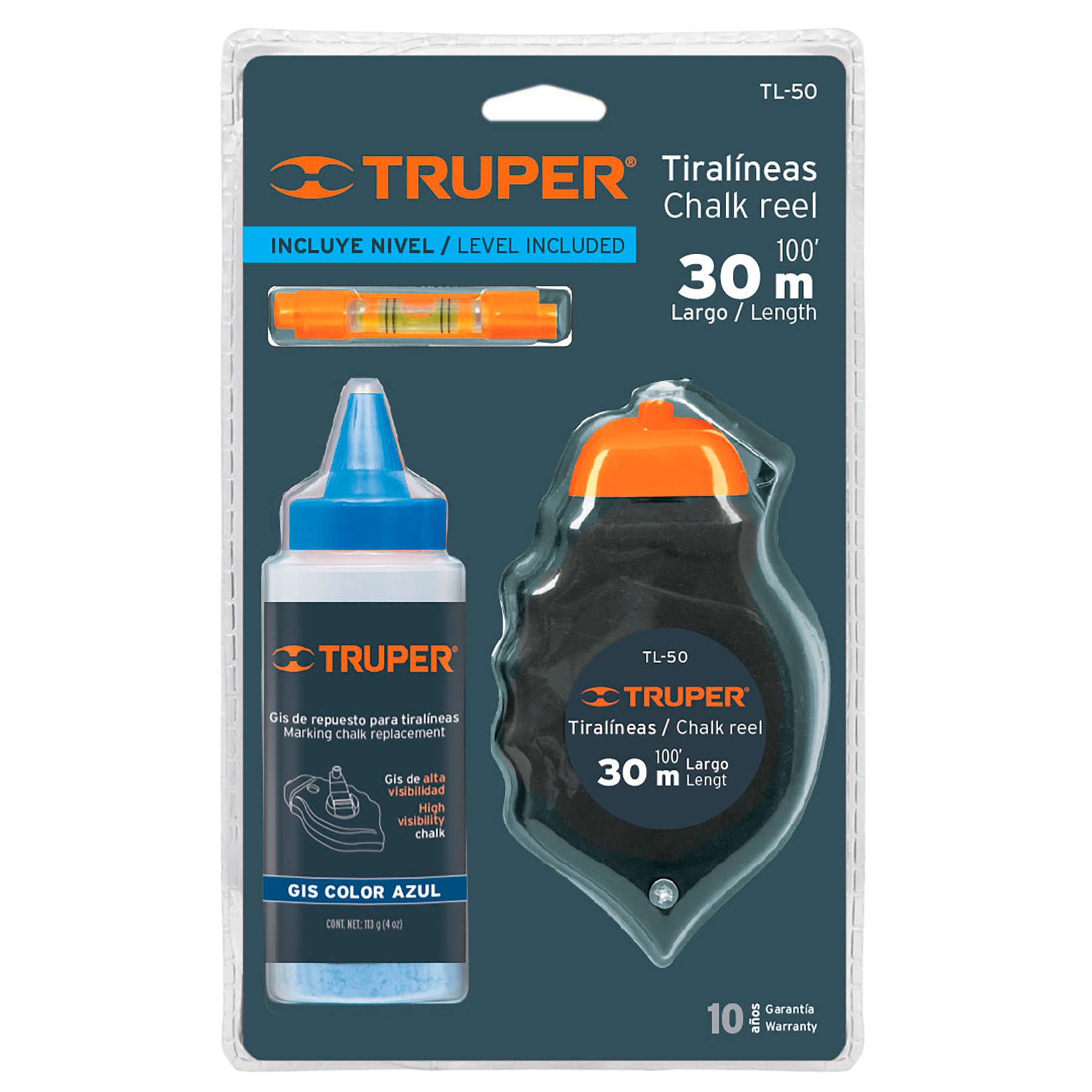 Truper - Tiralíneas 30m. cuerpo de plástico y nivel, incluye gis